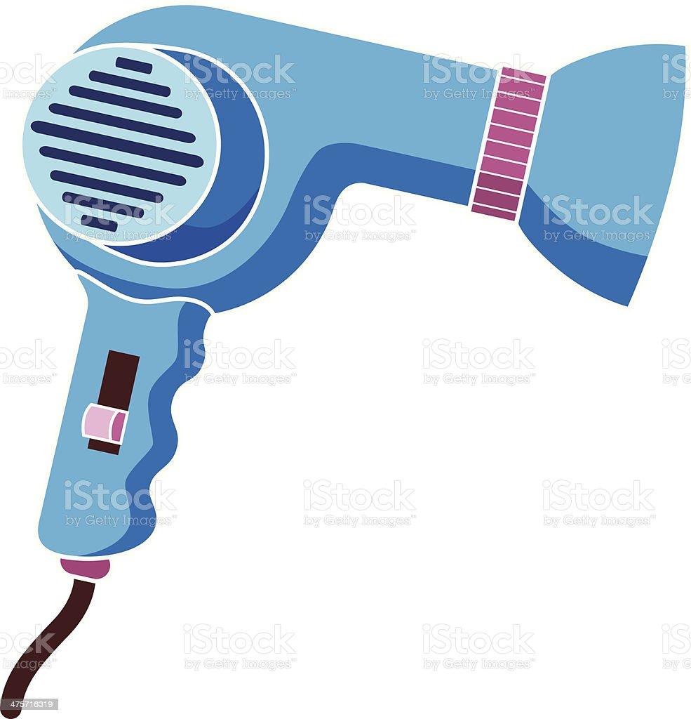 blue hair dryer vector art illustration