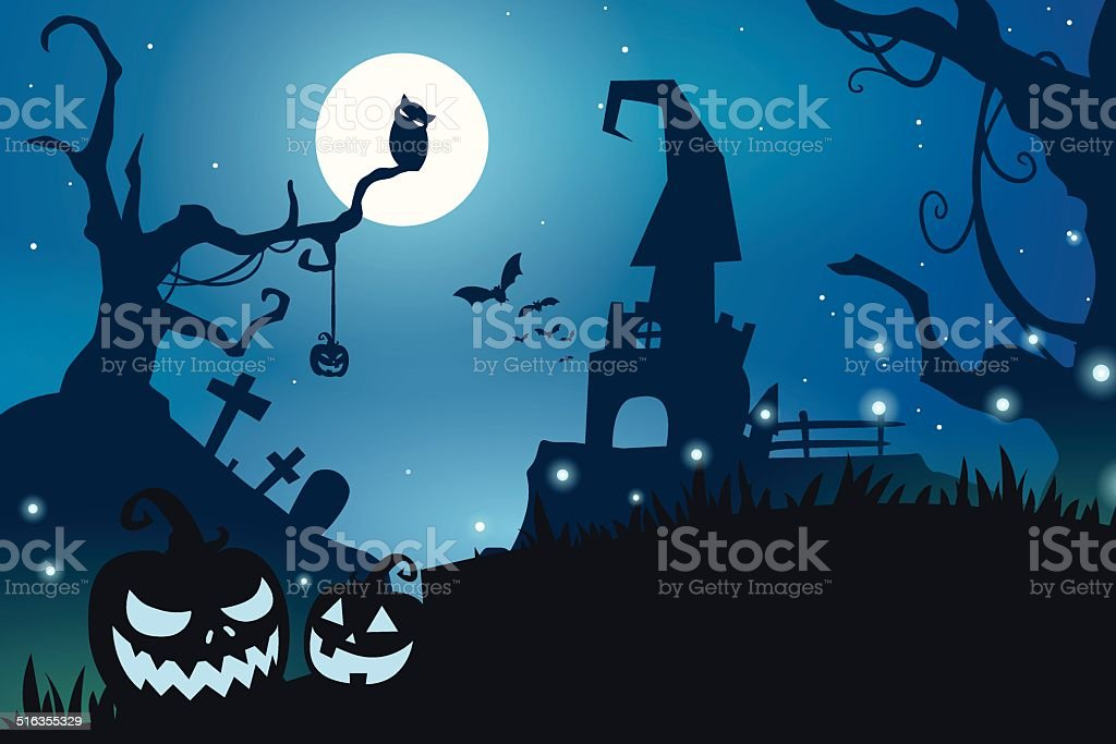 Blue halloween background royalty-free stock vector art