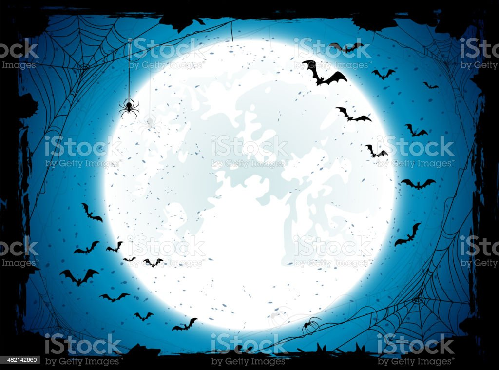Blue Halloween background with bats vector art illustration