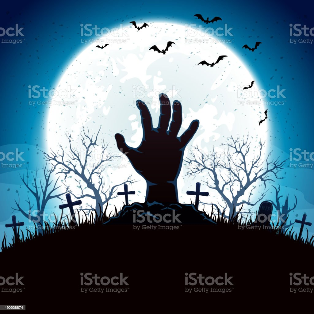 Blue Halloween background with hand and moon vector art illustration