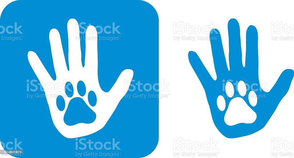 Blue Hand Paw icon vector art illustration