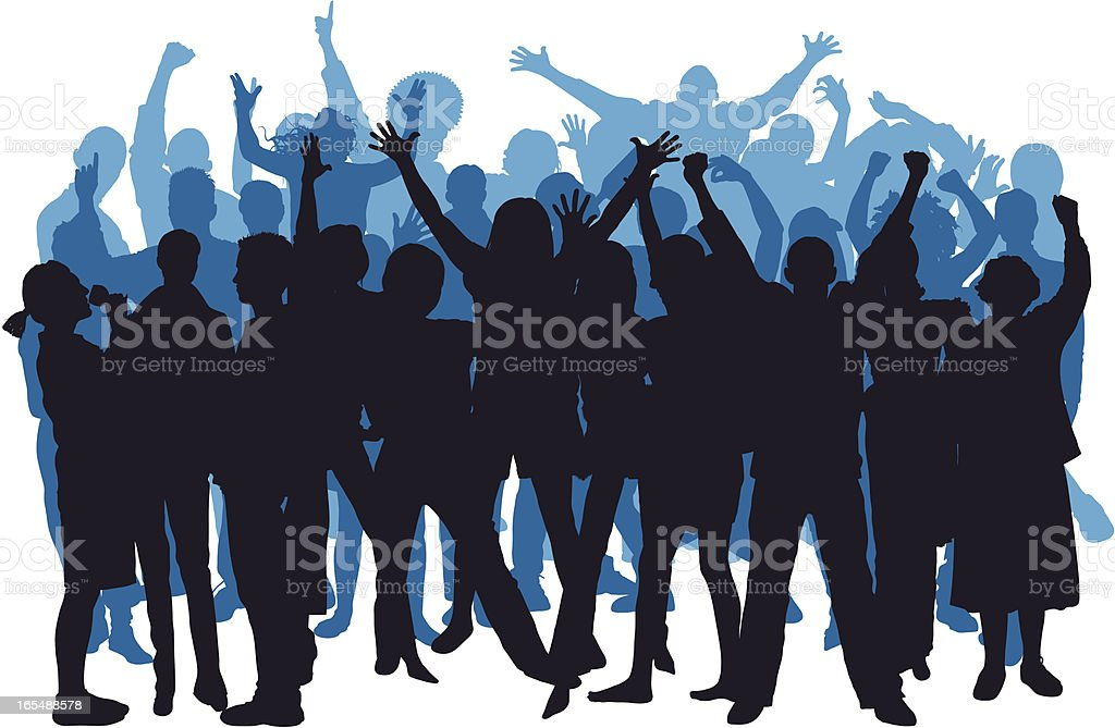 Blue Happy Crowd vector art illustration