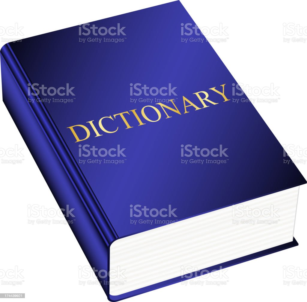 Blue hardback dictionary on white background vector art illustration
