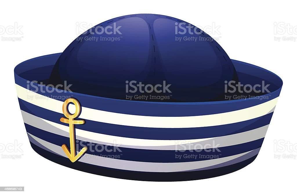 blue hat with an anchor vector art illustration