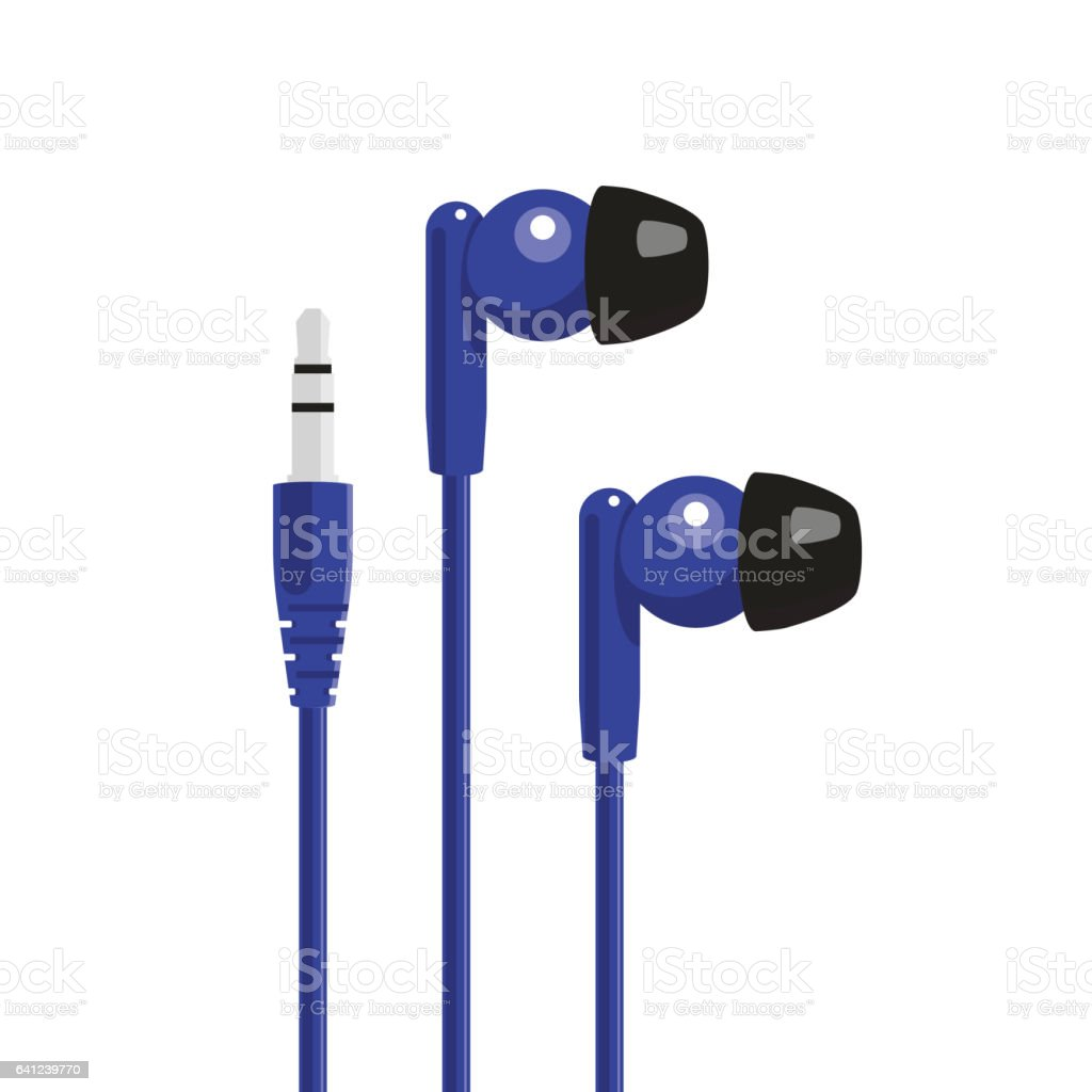 Blue headphone with mini jack connector vector art illustration