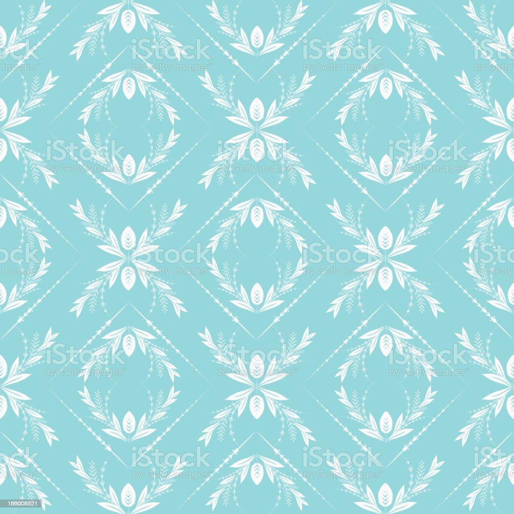 Blue Heart Damask Seamless Pattern royalty-free stock vector art