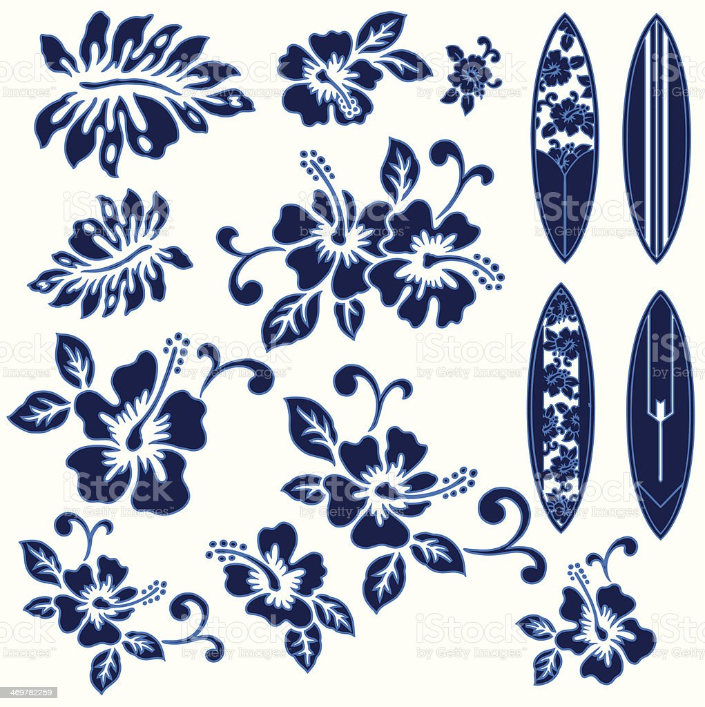 Blue hibiscus flowers and surfboards on a white background vector art illustration