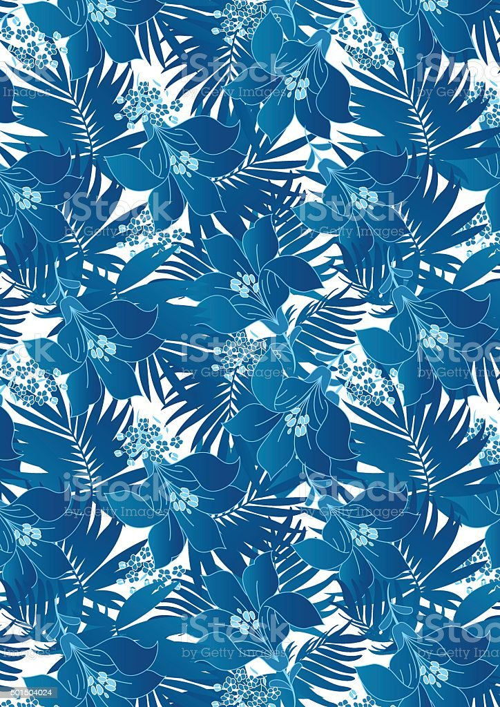 Blue hibiscus flowers in repeat pattern vector art illustration