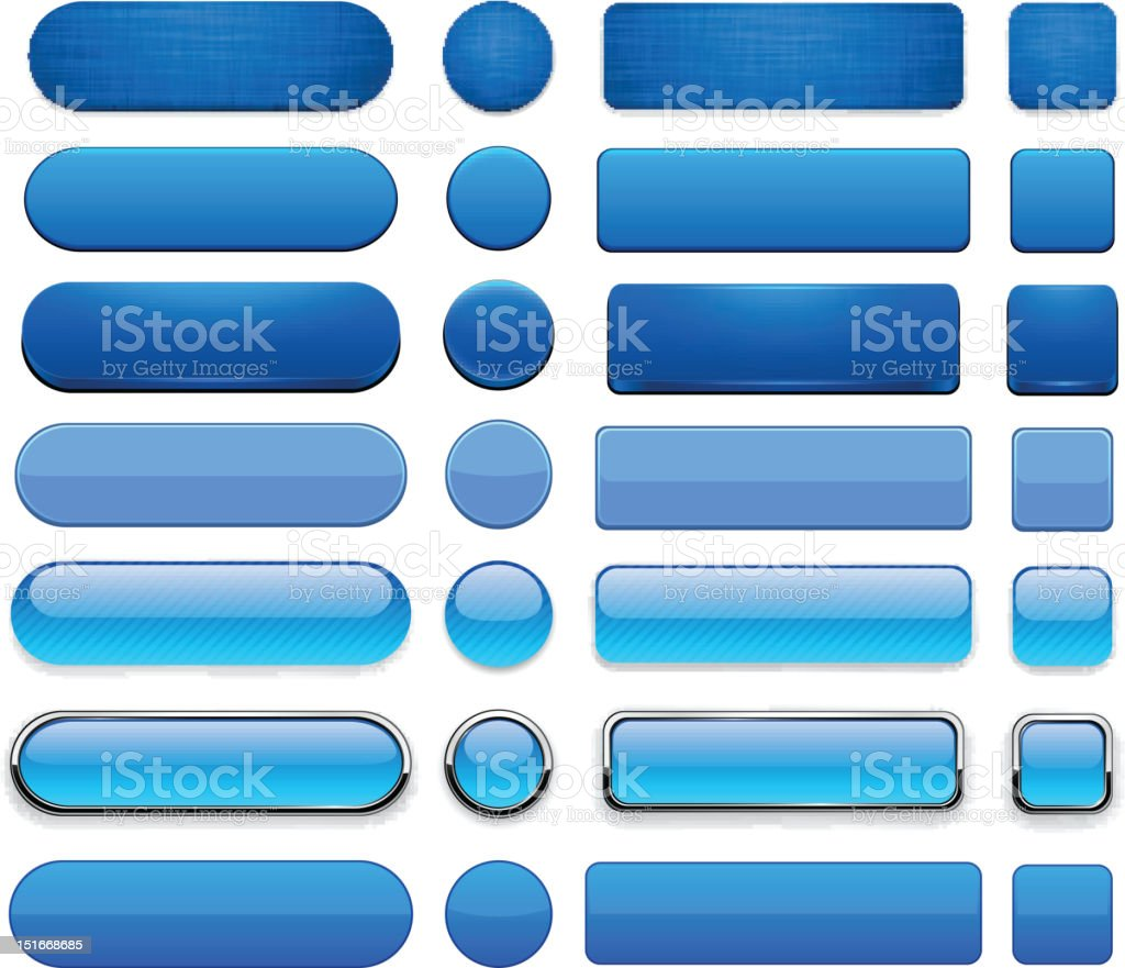 Blue high-detailed modern web buttons. vector art illustration