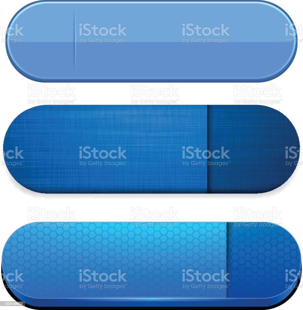 Blue high-detailed modern web buttons. vector art illustration