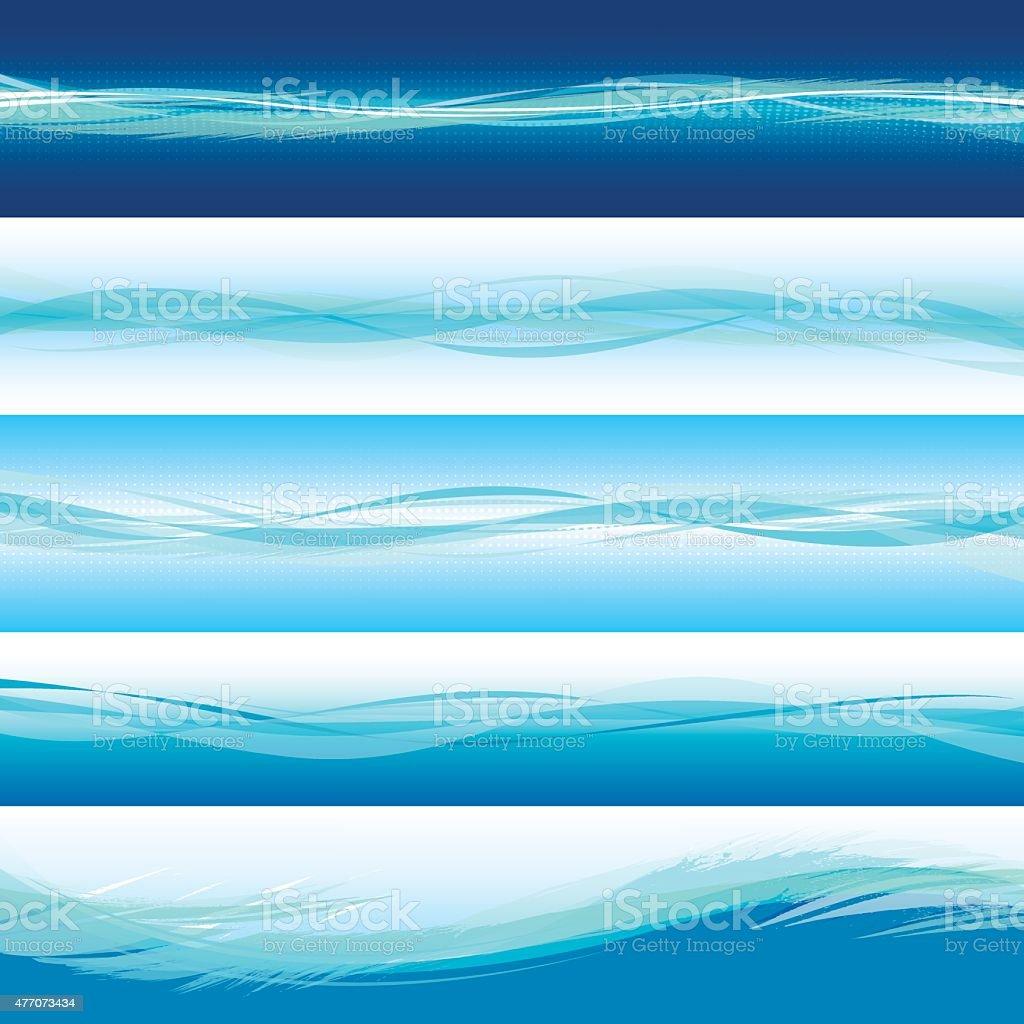 Blue horizontal wave backgrounds vector art illustration