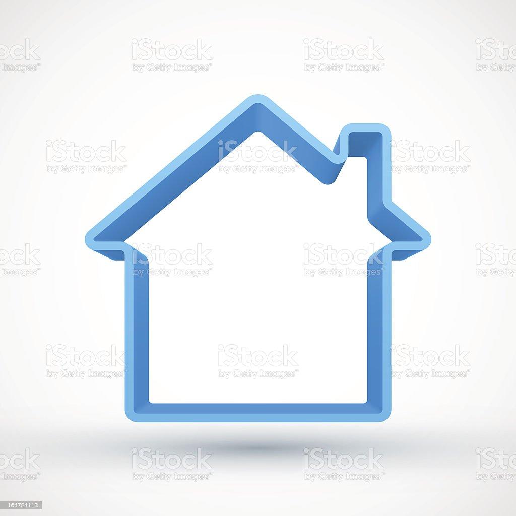 Blue house outline vector art illustration