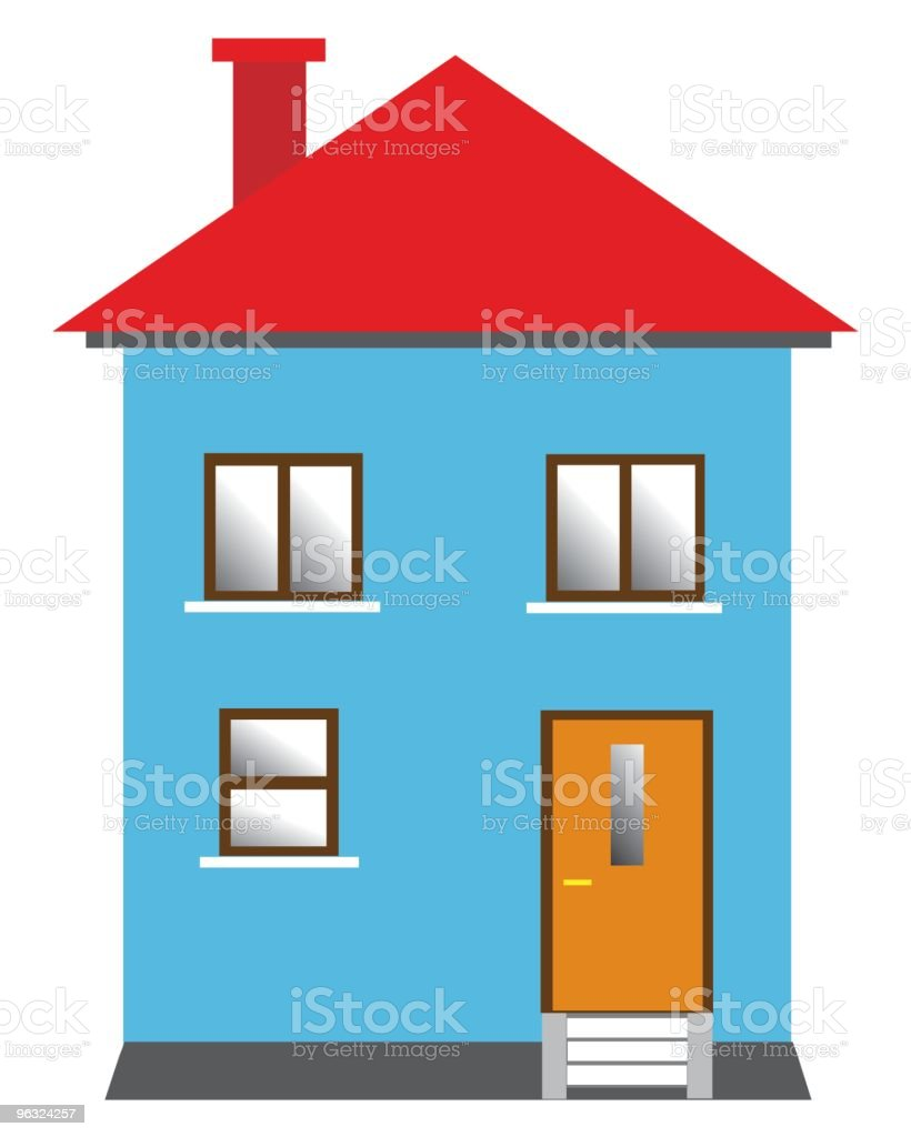 blue house vector art illustration