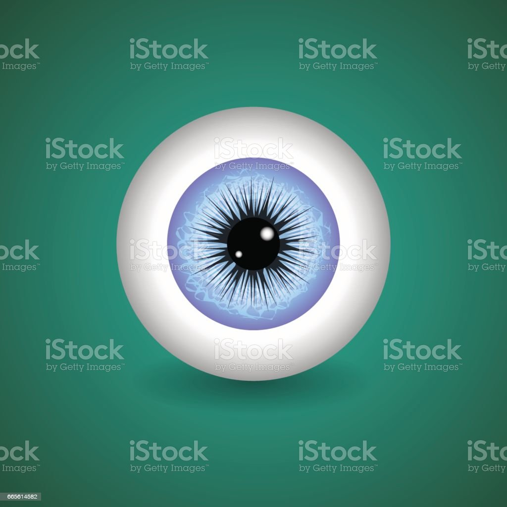 Blue Human Eye vector art illustration
