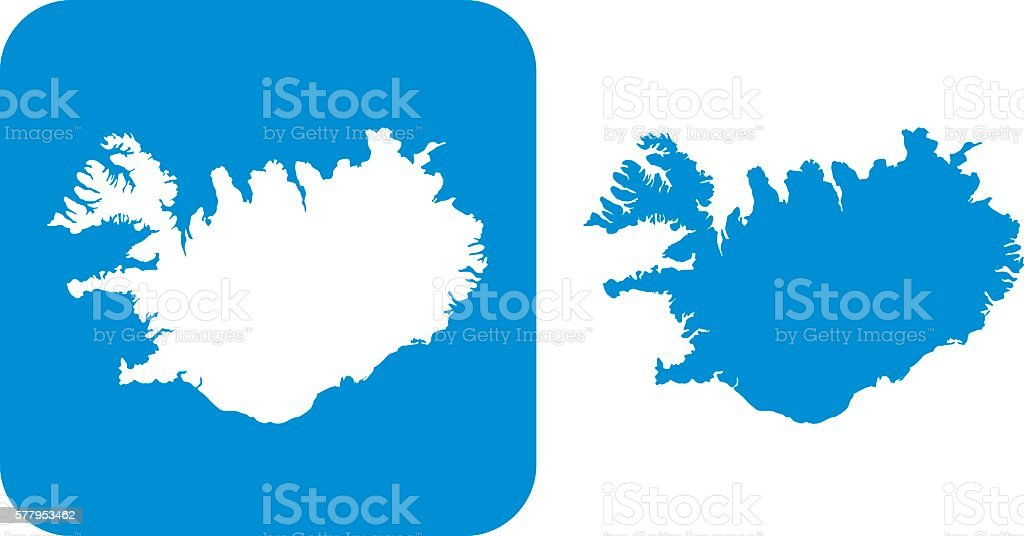Blue Iceland Icon vector art illustration