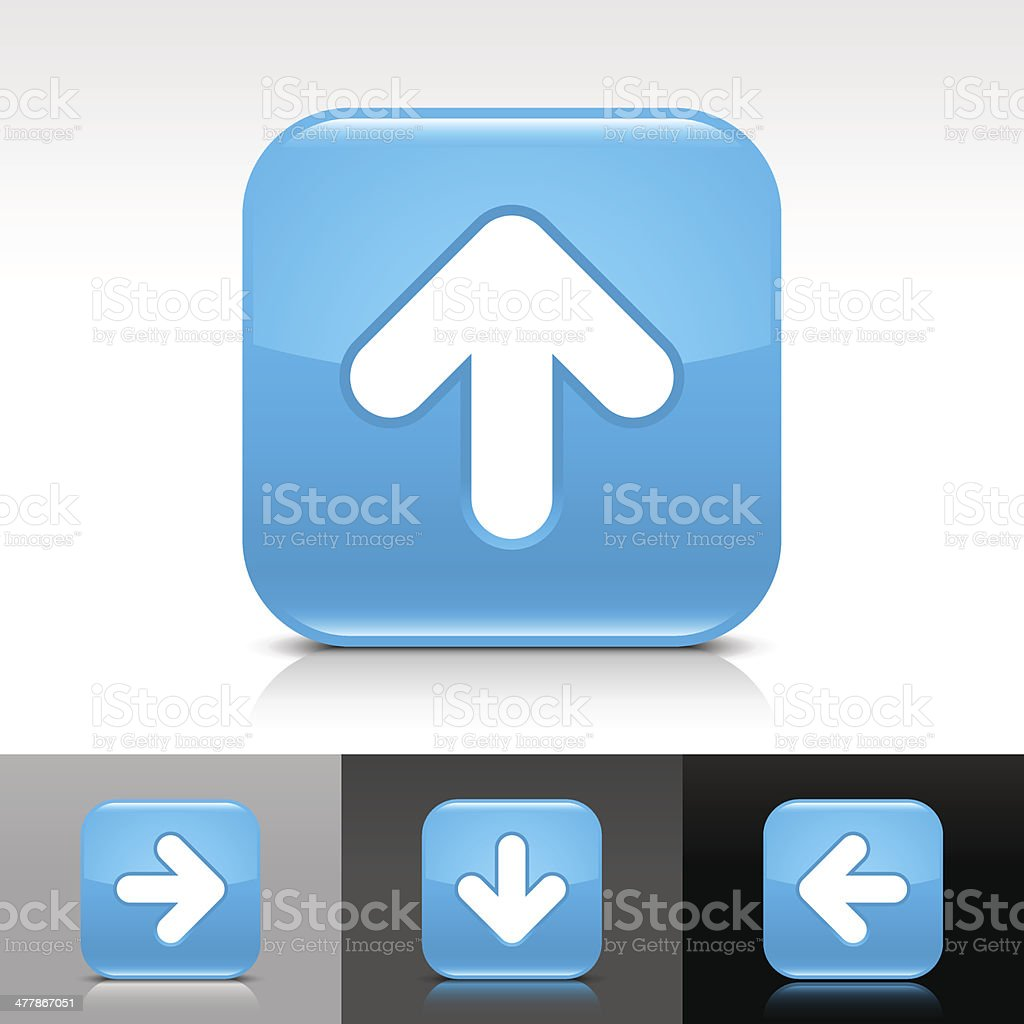 Blue icon arrow sign glossy rounded square button royalty-free stock vector art
