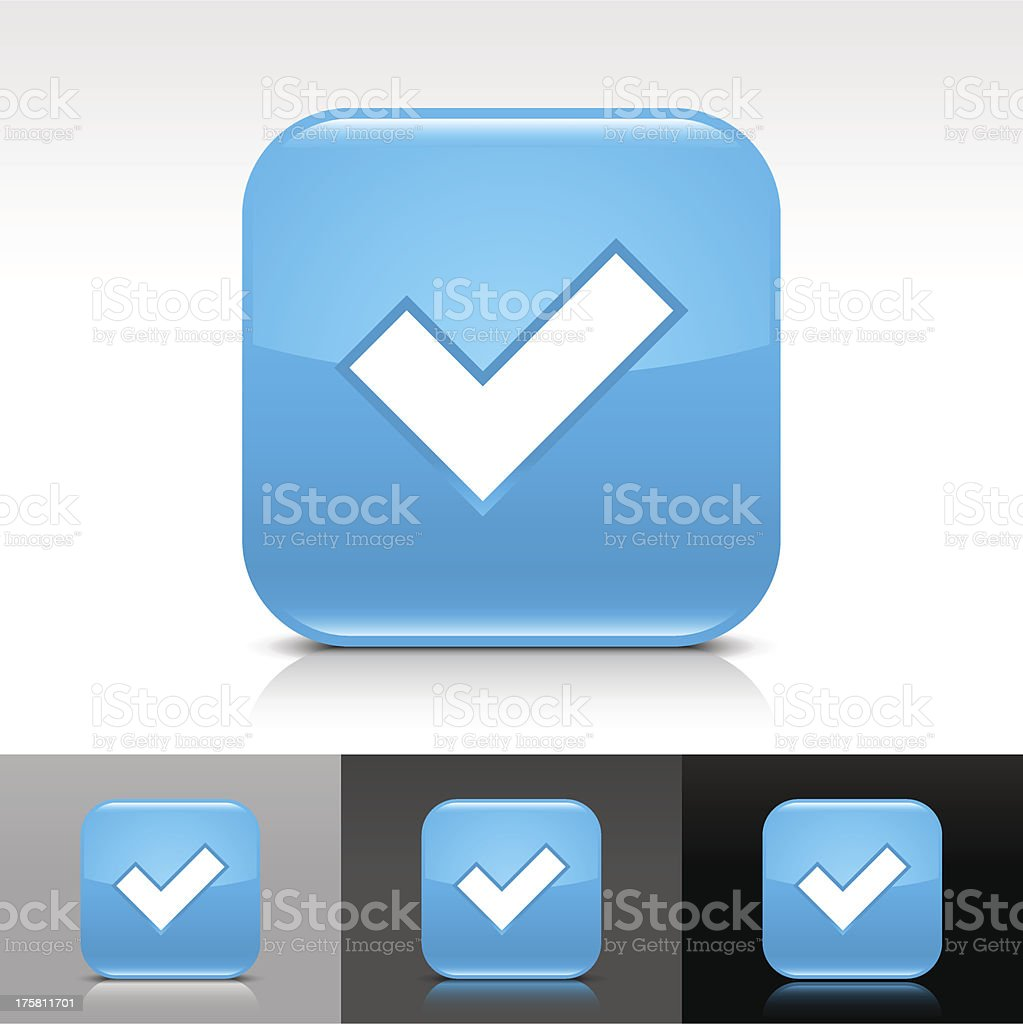 Blue icon check mark sign glossy rounded square internet button royalty-free stock vector art