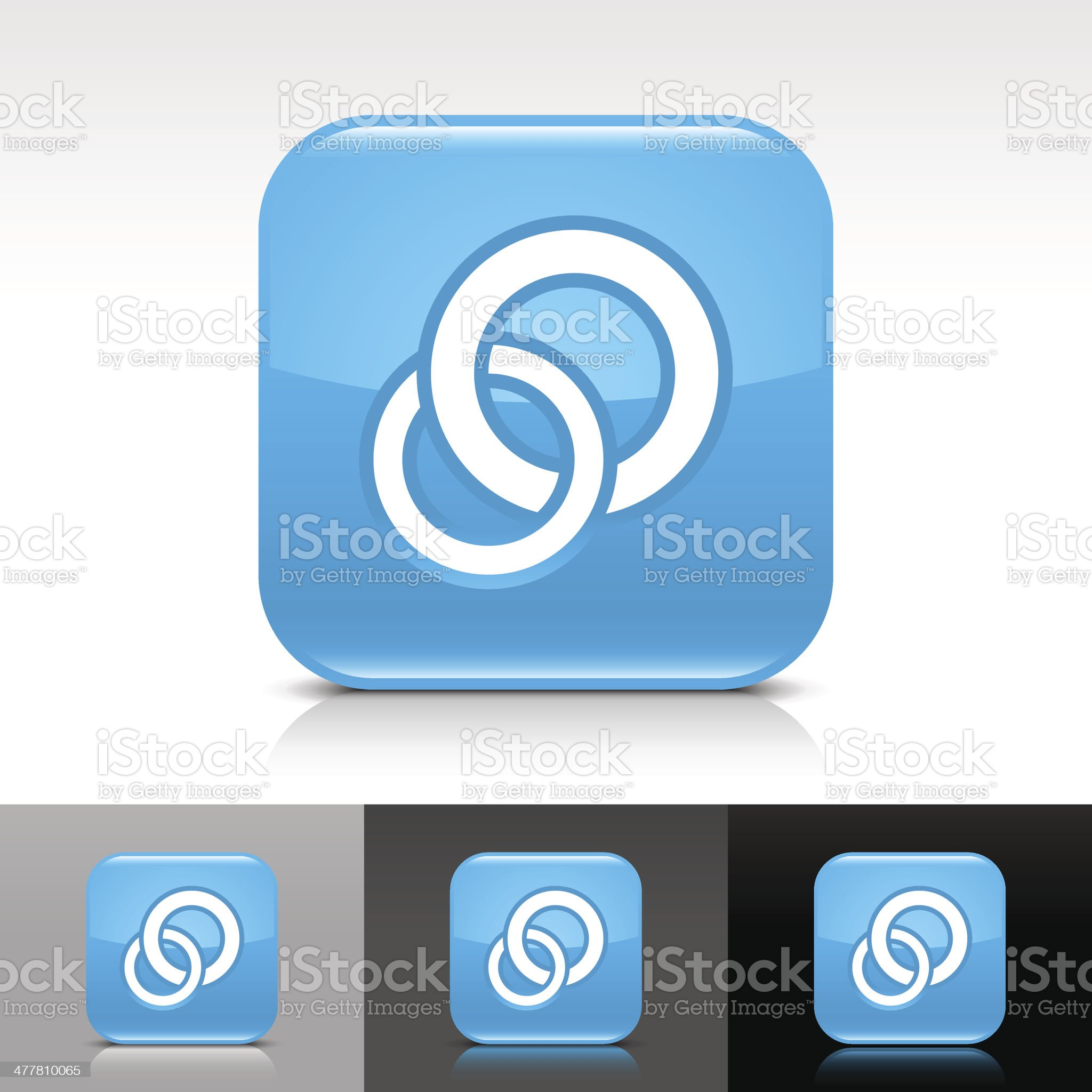 Blue icon circles sign glossy rounded square web button royalty-free stock vector art