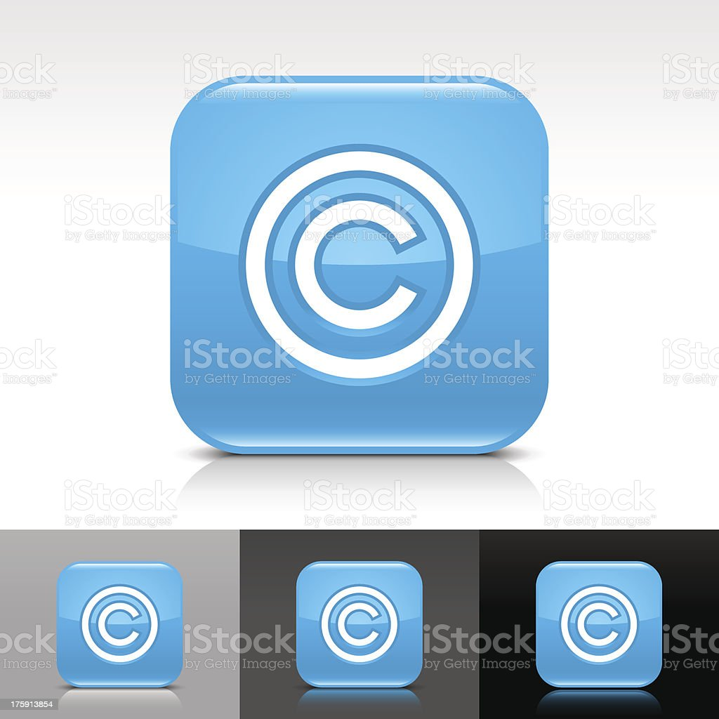 Blue icon copyright sign glossy rounded square web button vector art illustration