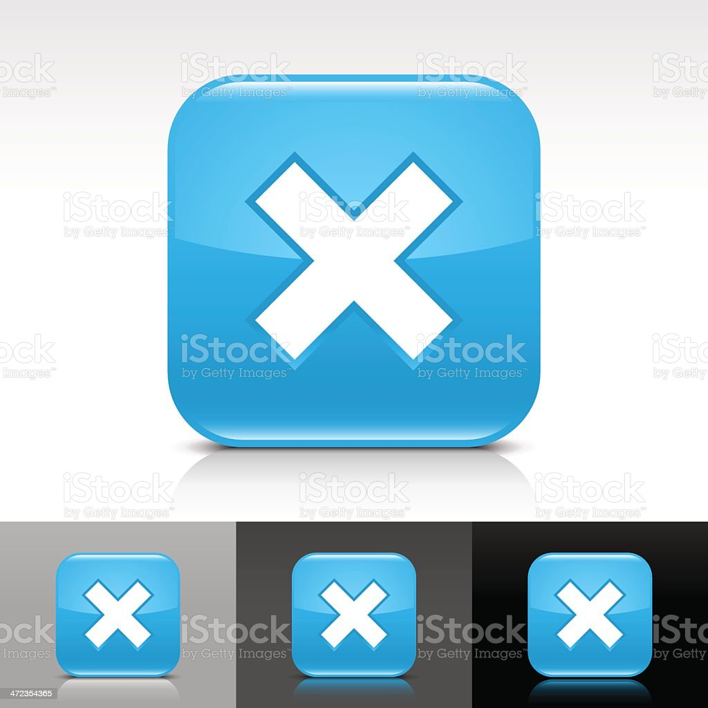 Blue icon delete sign glossy rounded square web button royalty-free stock vector art