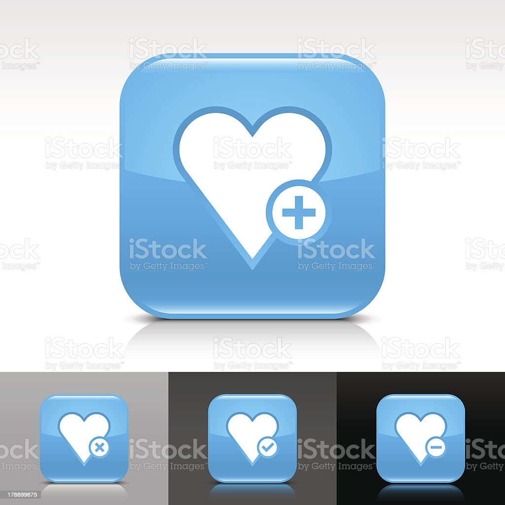 Blue icon heart favorites sign glossy rounded square web button royalty-free stock vector art