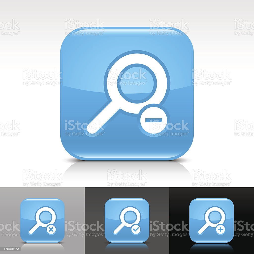 Blue icon magnifying glass sign glossy rounded square web button royalty-free stock vector art