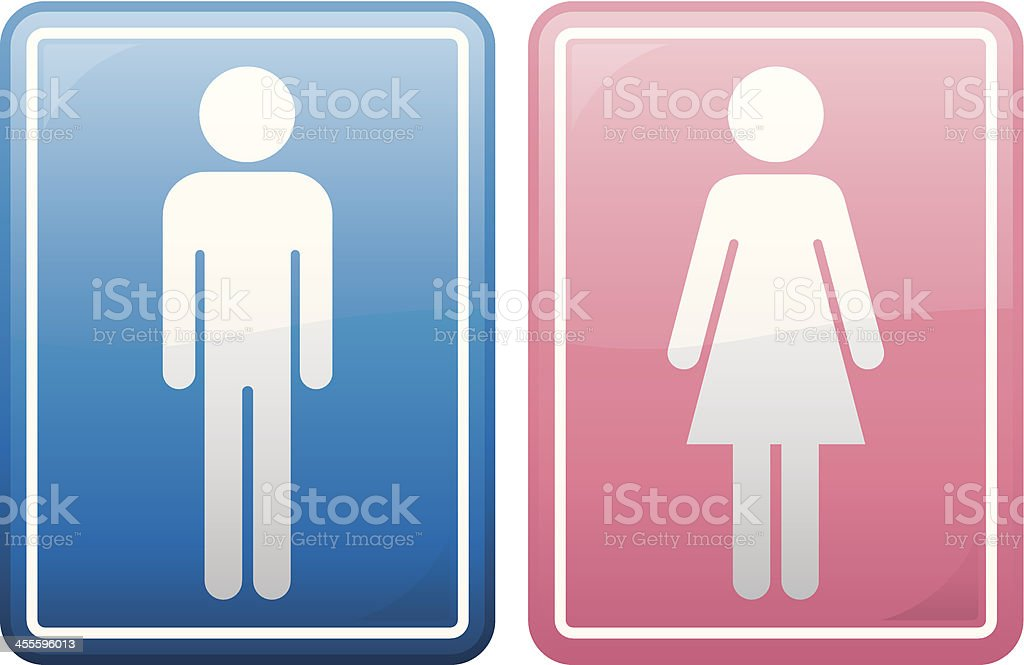 blue icon of male figure and red icon of female figure vector art illustration