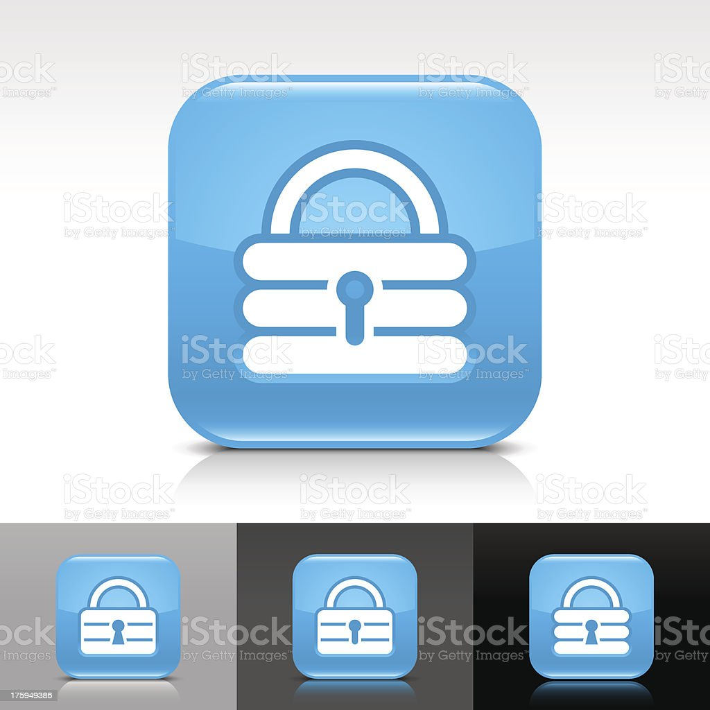 Blue icon padlock sign glossy rounded square web button royalty-free stock vector art
