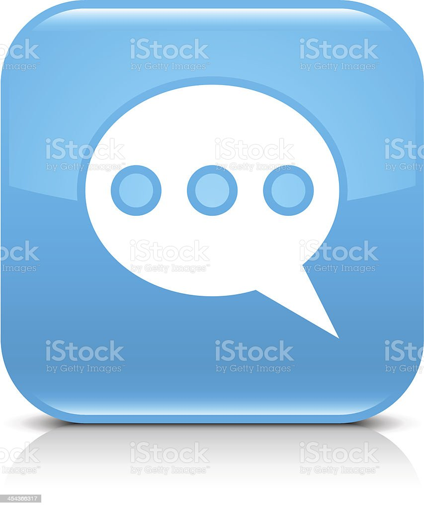 Blue icon speech bubble sign glossy rounded square web button royalty-free stock vector art