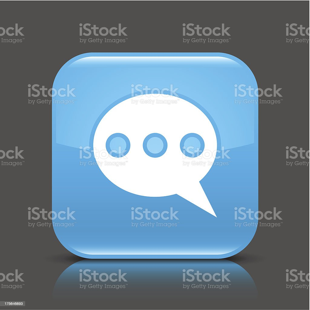Blue icon speech bubble sign glossy square web button royalty-free stock vector art