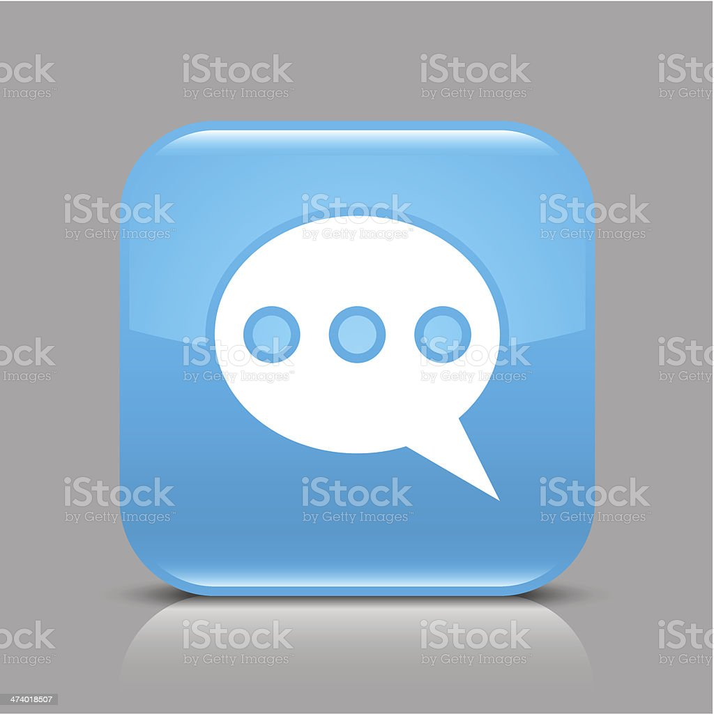 Blue icon speech bubble sign glossy square web internet button royalty-free stock vector art