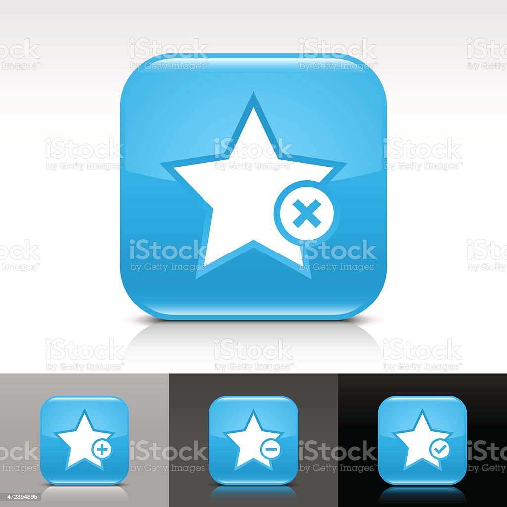 Blue icon star sign glossy rounded square web button royalty-free stock vector art
