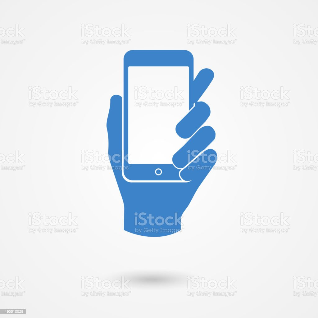 Blue icon with hand holding a smart mobile phone vector art illustration