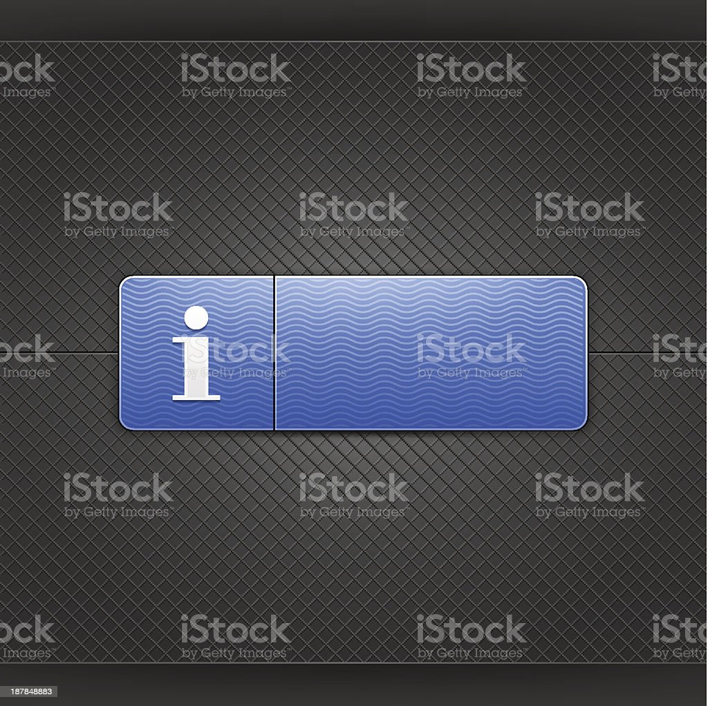Blue icon with white information sign web button metal texture royalty-free stock vector art