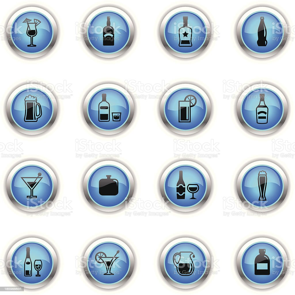 Blue Icons - Alcohol vector art illustration