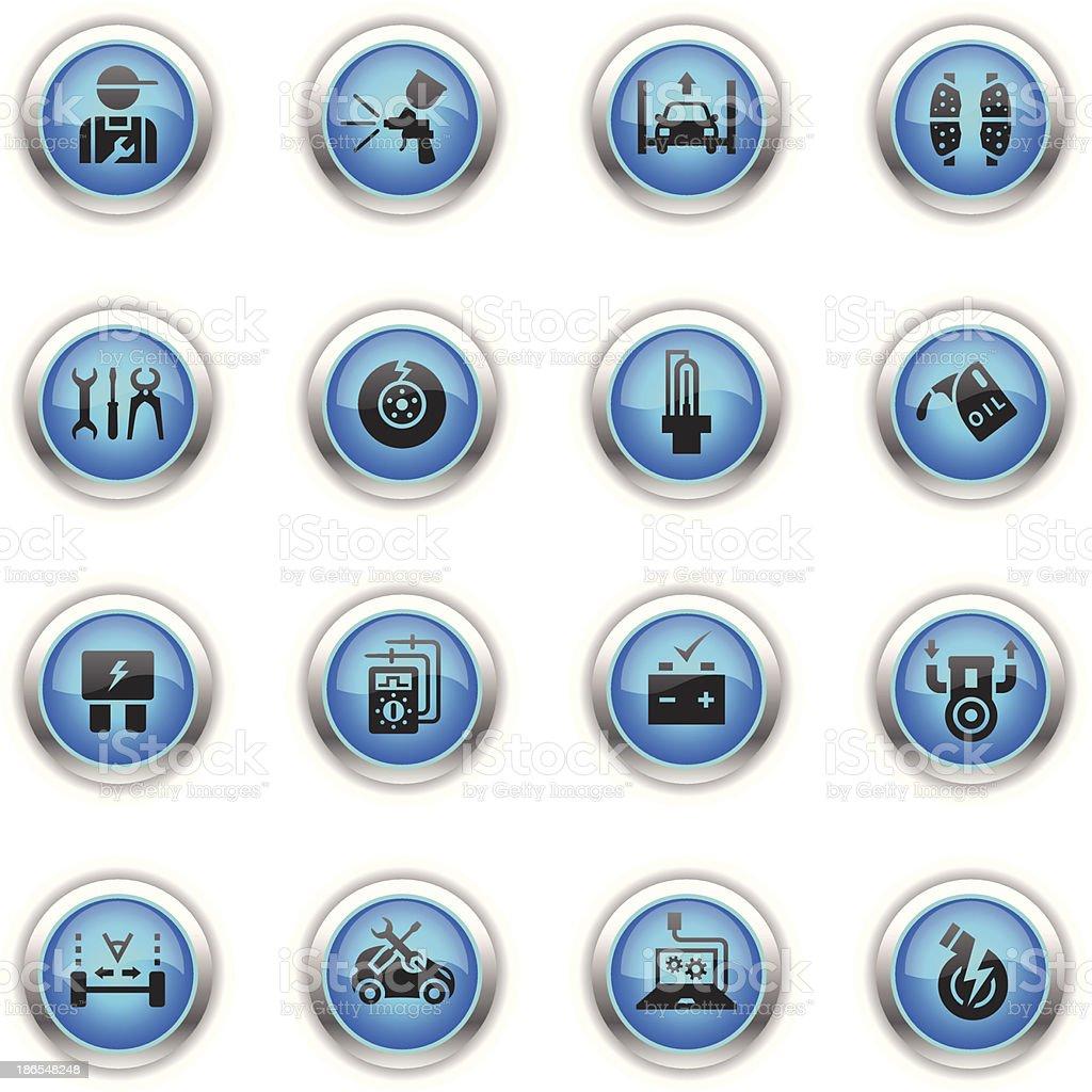 Blue Icons - Automobile Repair Shop vector art illustration