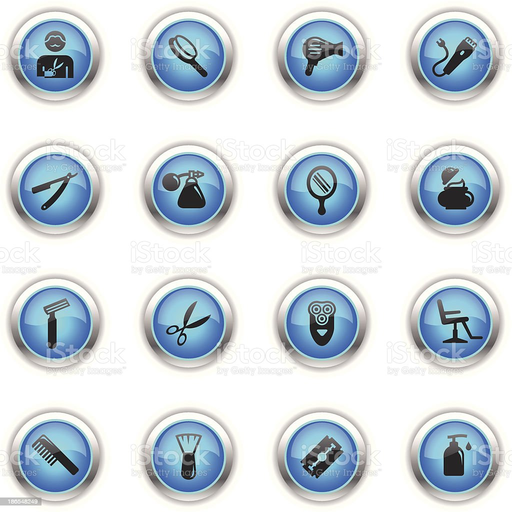 Blue Icons - Barbershop vector art illustration