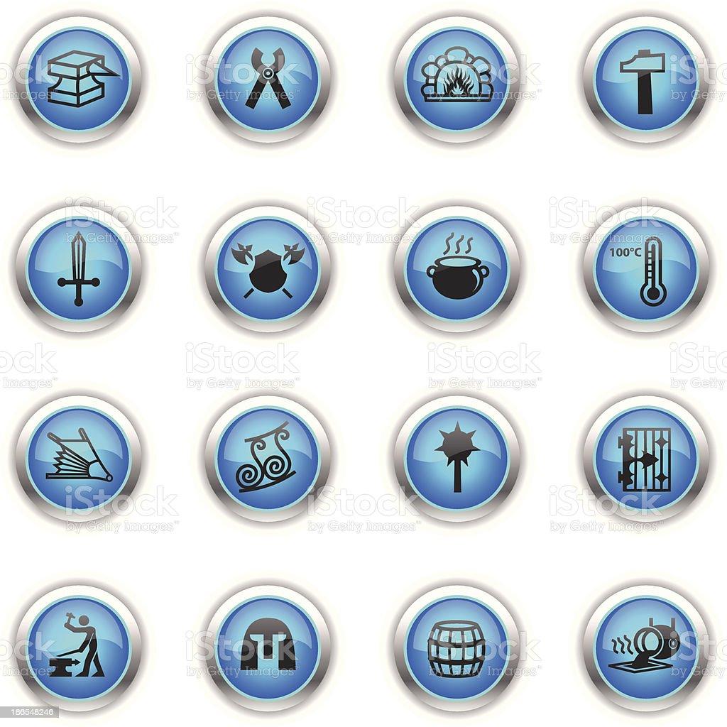Blue Icons - Blacksmith vector art illustration