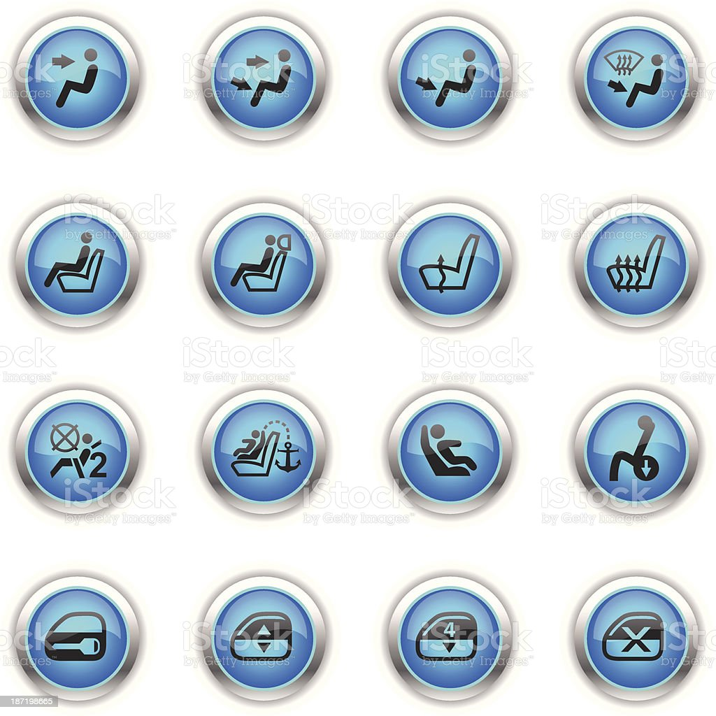 Blue Icons - Car Control Indicators royalty-free stock vector art