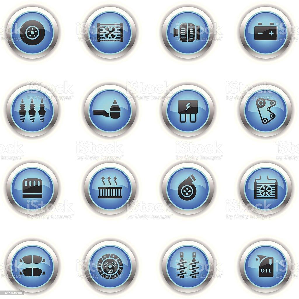 Blue Icons - Car Maintenance vector art illustration