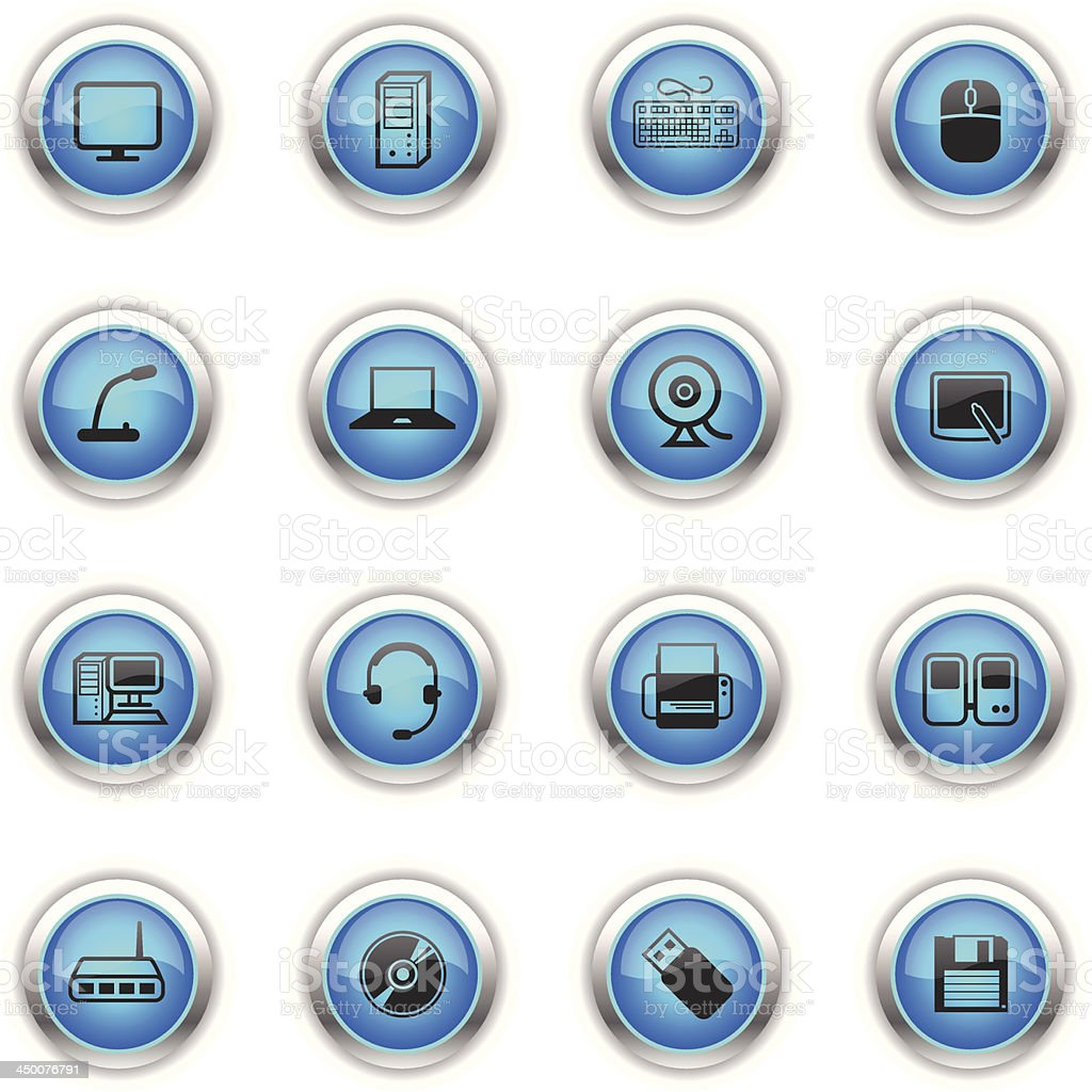 Blue Icons - Computer & Peripherals royalty-free stock vector art
