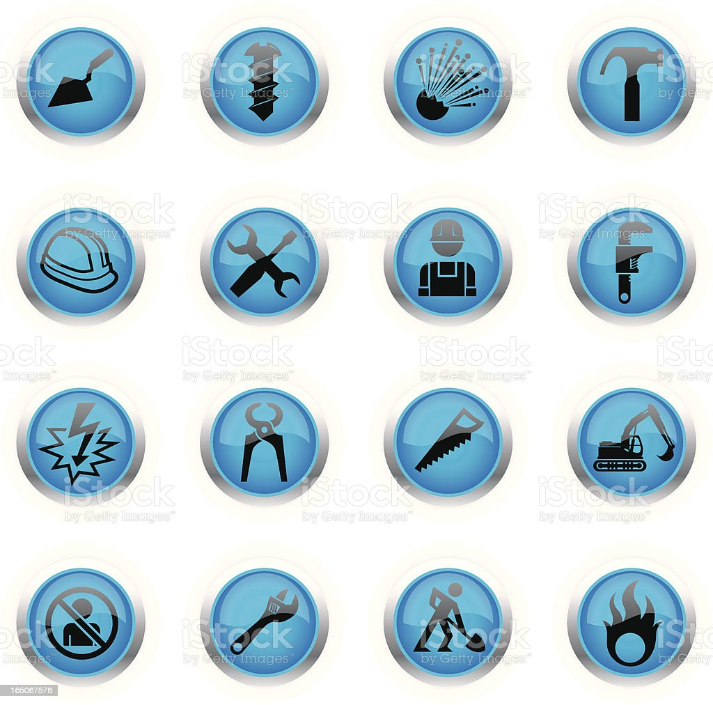 Blue Icons - Construction royalty-free stock vector art