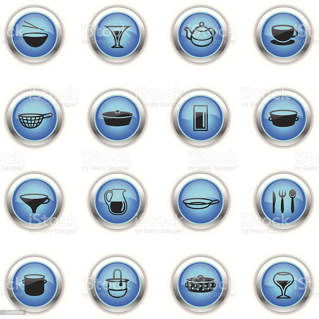 Blue Icons - Dishes vector art illustration
