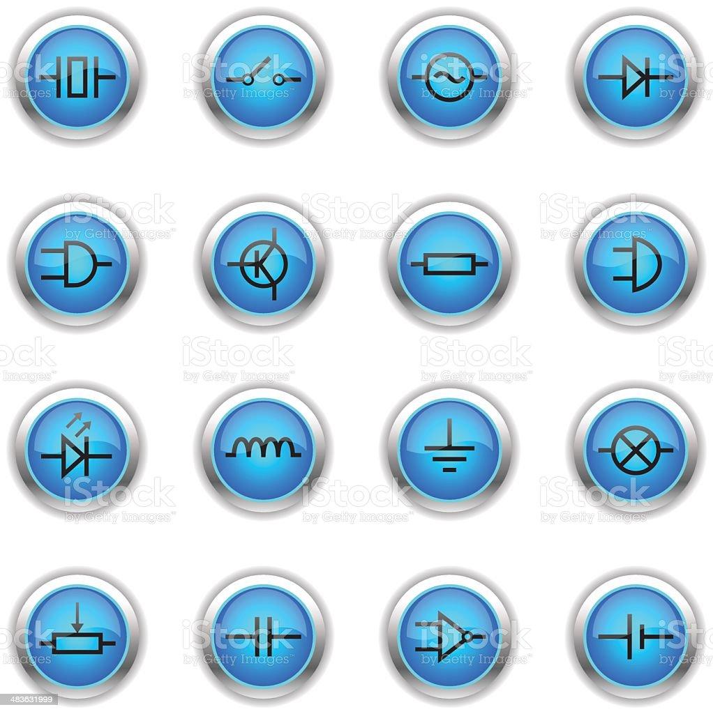Blue Icons - Electronic Symbols vector art illustration
