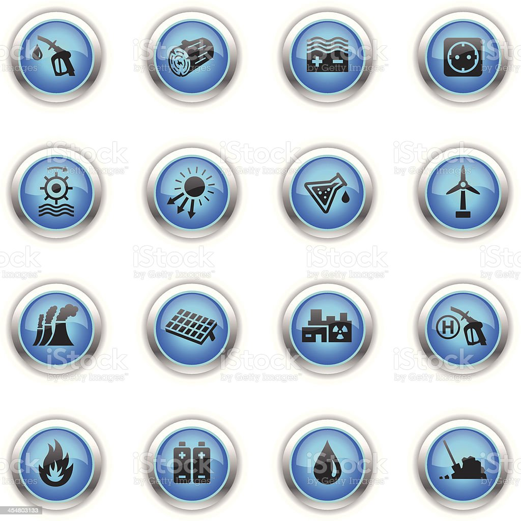 Blue Icons - Energy Sources vector art illustration