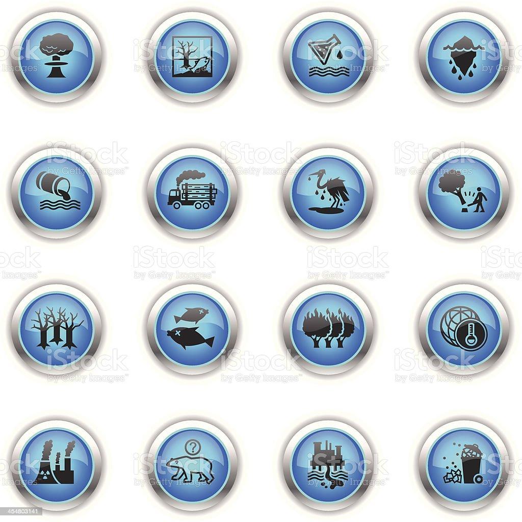 Blue Icons - Environmental Damage royalty-free stock vector art