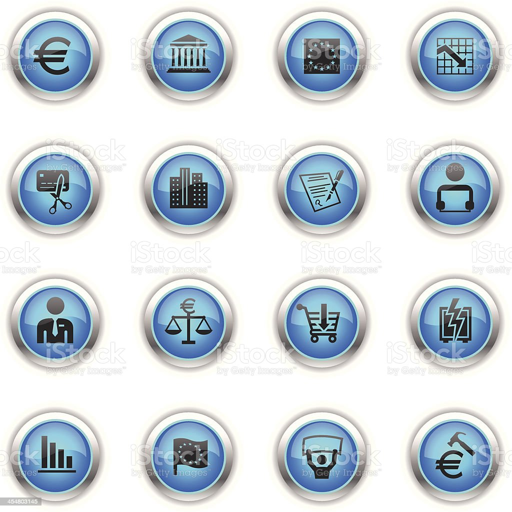 Blue Icons - European Union Recession royalty-free stock vector art