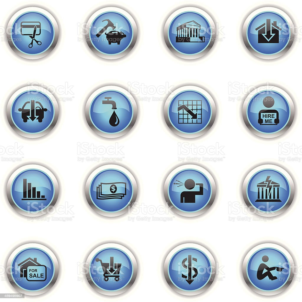Blue Icons - Financial Crisis vector art illustration