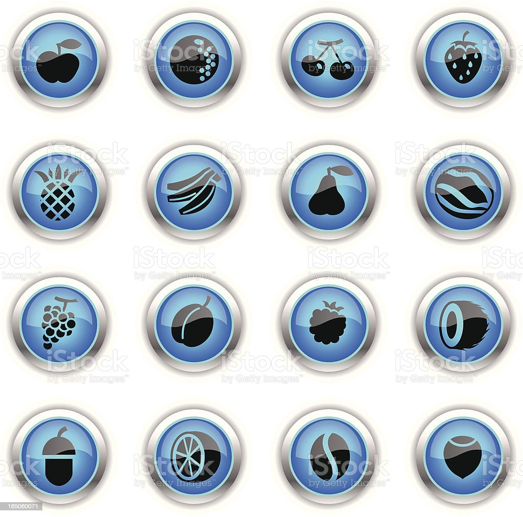 Blue Icons - Fruits royalty-free stock vector art