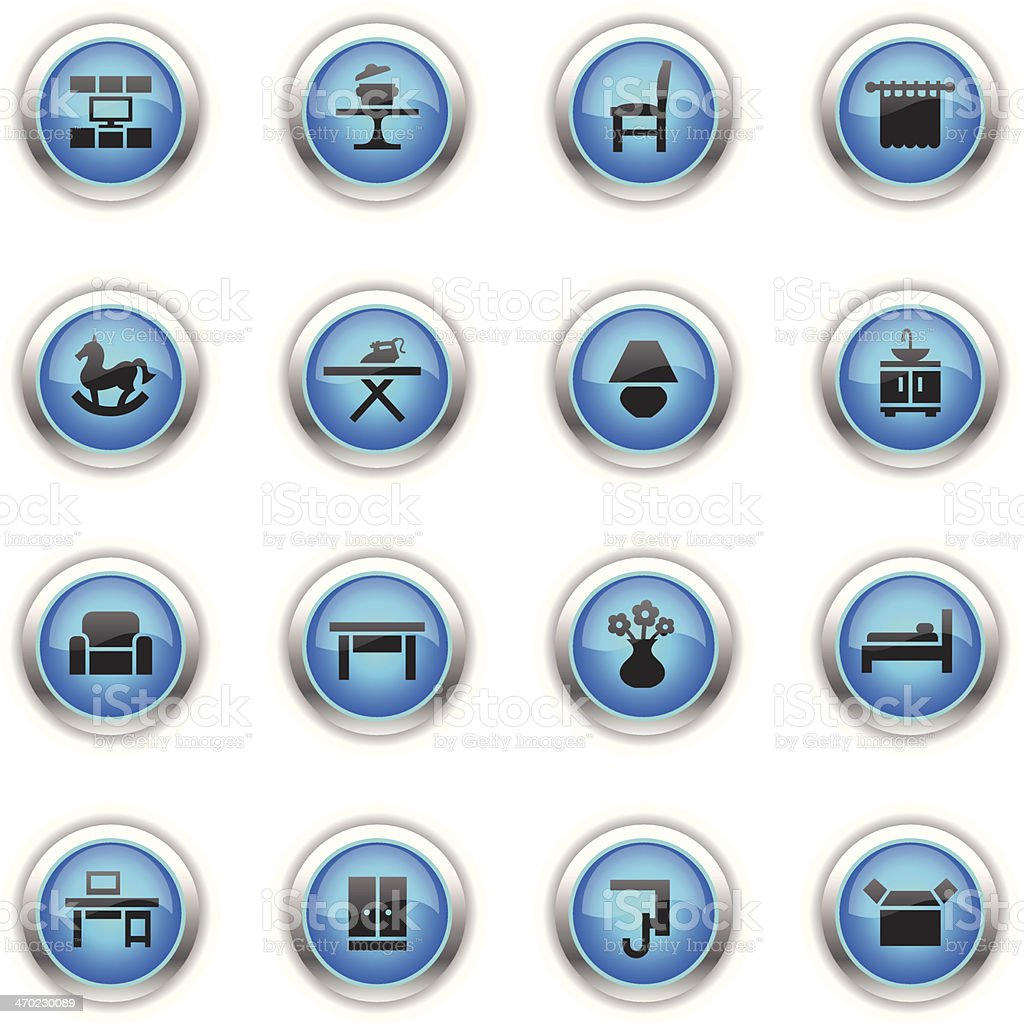 Blue Icons - Furniture Categories vector art illustration